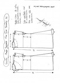 Esquema de modelagem de vestido com manga japonesa p-lus size tamanho 56.