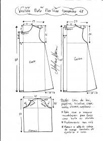 Esquema de modelagem de vestido tipo bata plus size tamanho 48.