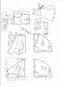 Esquema de modelagem de vestido vintage envelope tamanho 48.