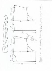 Esquema de modelagem de blusa manga morcego tamanho EXG.