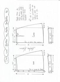 Esquema de modelagem de saia evasê com botões tamanho 46.