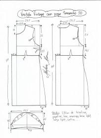 Esquema de modelagem de vestido vintage com prega tamanho 50.