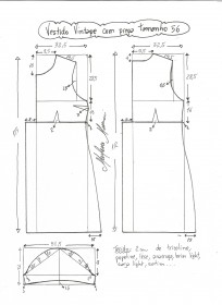 Esquema de modelagem de vestido vintage com prega tamanho 56.