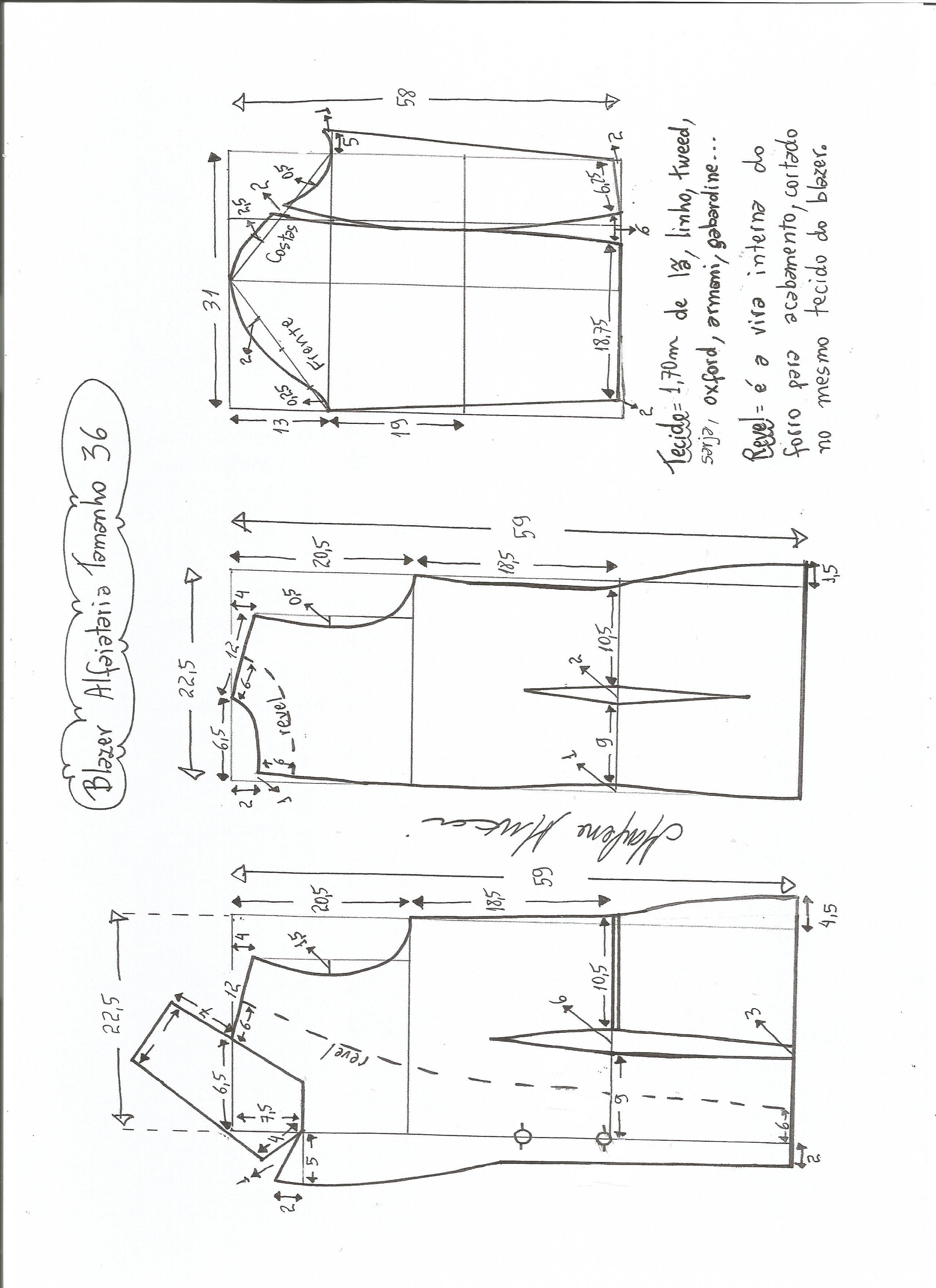 662e07589 Esquema de modelagem de blazer alfaiataria gola de bico tamanho 36.