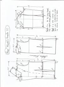Esquema de modelagem de blazer alfaiataria gola de bico tamanho 52.