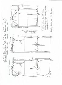 Esquema de modelagem de blazer alfaiataria com gola em pé tamanho 44.