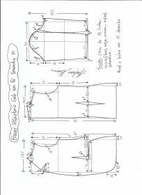 Esquema de modelagem de blazer alfaiataria com gola em pé tamanho 48.