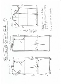 Esquema de modelagem de blazer alfaiataria com gola em pé tamanho 52.