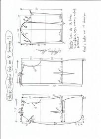 Esquema de modelagem de blazer alfaiataria com gola em pé tamanho 54.