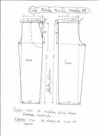 Esquema de modelagem de calça de moletom masculina tamanho 38.