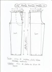 Esquema de modelagem de calça de moletom feminina tamanho 56.