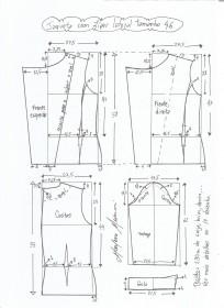 Esquema de modelagem de jaqueta com zíper e transpasse tamanho 46.