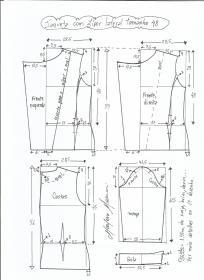 Esquema de modelagem de jaqueta com zíper e transpasse tamanho 48.