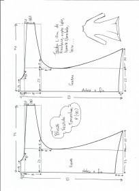 Esquema de modelagem de blusão vestido tamanho P.