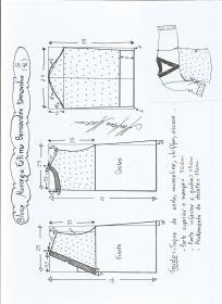 Esquema de modelagem de blusa morcego  Fátima Bernardes tamanho G.