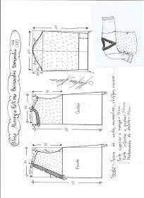 Esquema de modelagem de blusa morcego  Fátima Bernardes tamanho GG.