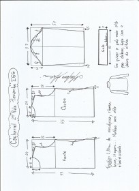 Esquema de modelagem de Blusa cacharrel segunda pele de malha tamanho EGG.