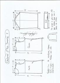 Esquema de modelagem de Blusa cacharrel segunda pele de malha tamanho P.