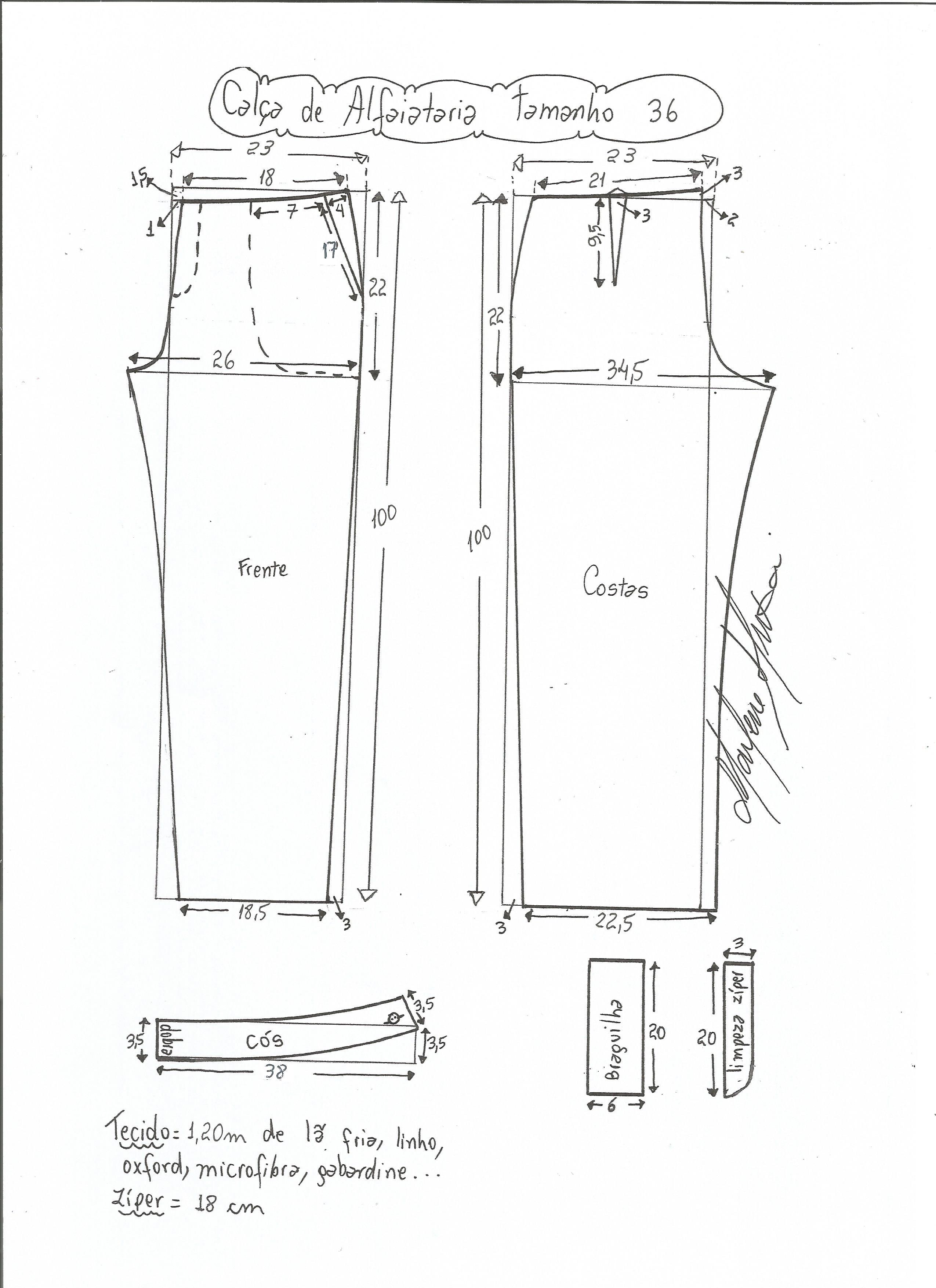 40284b9f8 Esquema de modelagem de calça alfaiataria tamanho 36