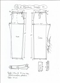 Esquema de modelagem de calça alfaiataria tamanho 44.