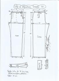 Esquema de modelagem de calça alfaiataria tamanho 50.