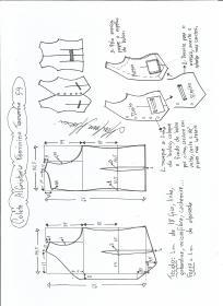 Esquema de modelagem de colete feminino alfaiataria tamanho 54.