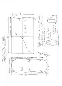 Esquema de modelagem de pantufas  slippers tamanho 33/34.