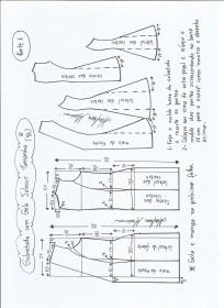 Esquema de modelagem de Sobretudo com gola jabour tamanho G. 1ª Parte.