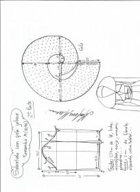 Esquema de modelagem de Sobretudo com gola jabour tamanho M. 2ª Parte.