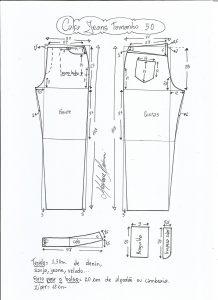 Esquema de modelagem de calça jeans tradicional tamanho 50.