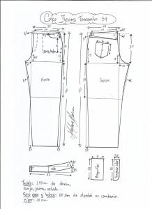 Esquema de modelagem de calça jeans tradicional tamanho 54.
