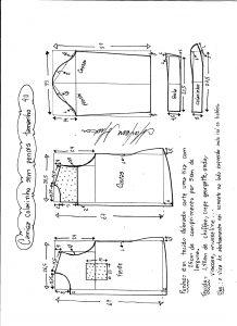 Esquema de modelagem de camisa sem pences tamanho 40.