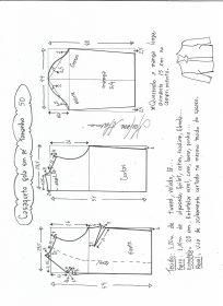 Esquema de modelagem de casaqueto gola alta com manga 3/4 tamanho 50.