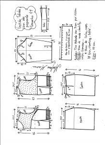 Esquema de modelagem de vestido tubinho com aba pregueada e detalhe em renda tamanho 44.