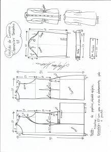 Esquema de modelagem de vestido inverno chamesier tamanho 48.