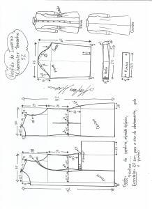 Esquema de modelagem de vestido inverno chamesier tamanho 52.