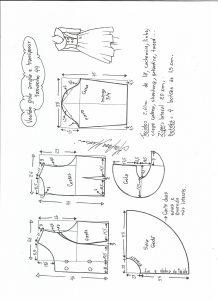 Esquema de modelagem de vestido gola ampla tamanho 44.