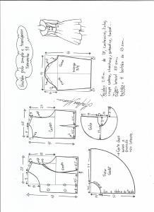 Esquema de modelagem de vestido gola ampla tamanho 48.