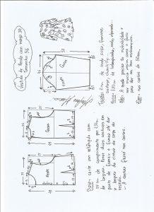 Esquema de modelagem de vestido meia estação de renda e manga 3/4 tamanho 56.