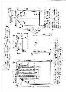 Esquema de modelagem de camisa com nervuras tamanho 46.
