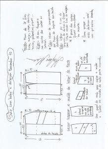 Esquema de modelagem de saia com bolsos e debrum tamanho 40.