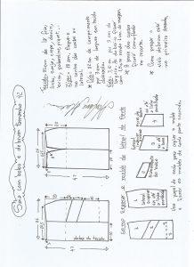 Esquema de modelagem de saia com bolsos e debrum tamanho 42.