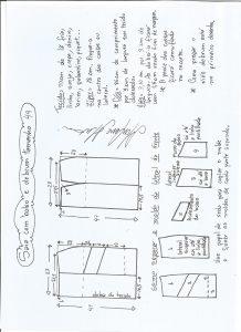 Esquema de modelagem de saia com bolsos e debrum tamanho 44.