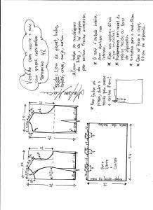 Esquema de modelagem de vestido com recorte e pregas costuradas tamanho 42