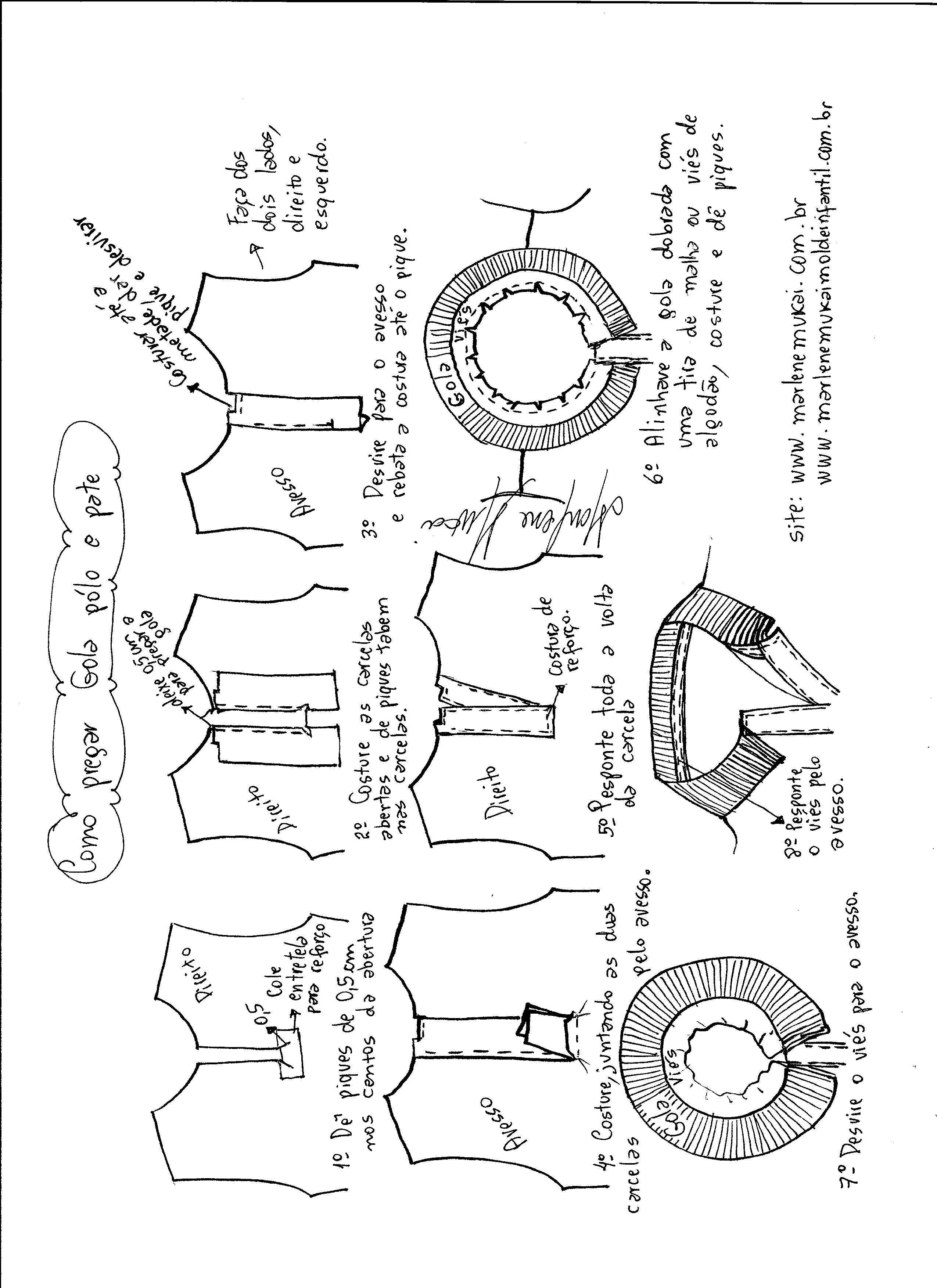 4215d41d3 Instruções de acabamento e montagem da gola e carcela da camisa pólo.