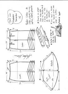 Esquema de modelagem de saia sino com pregas diagonais tamanho 36.