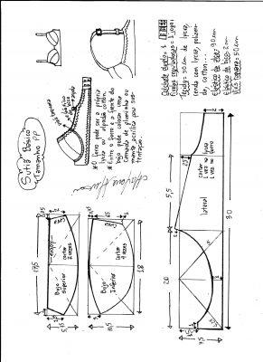 Esquema de modelagem de sutiã tamanho PP.