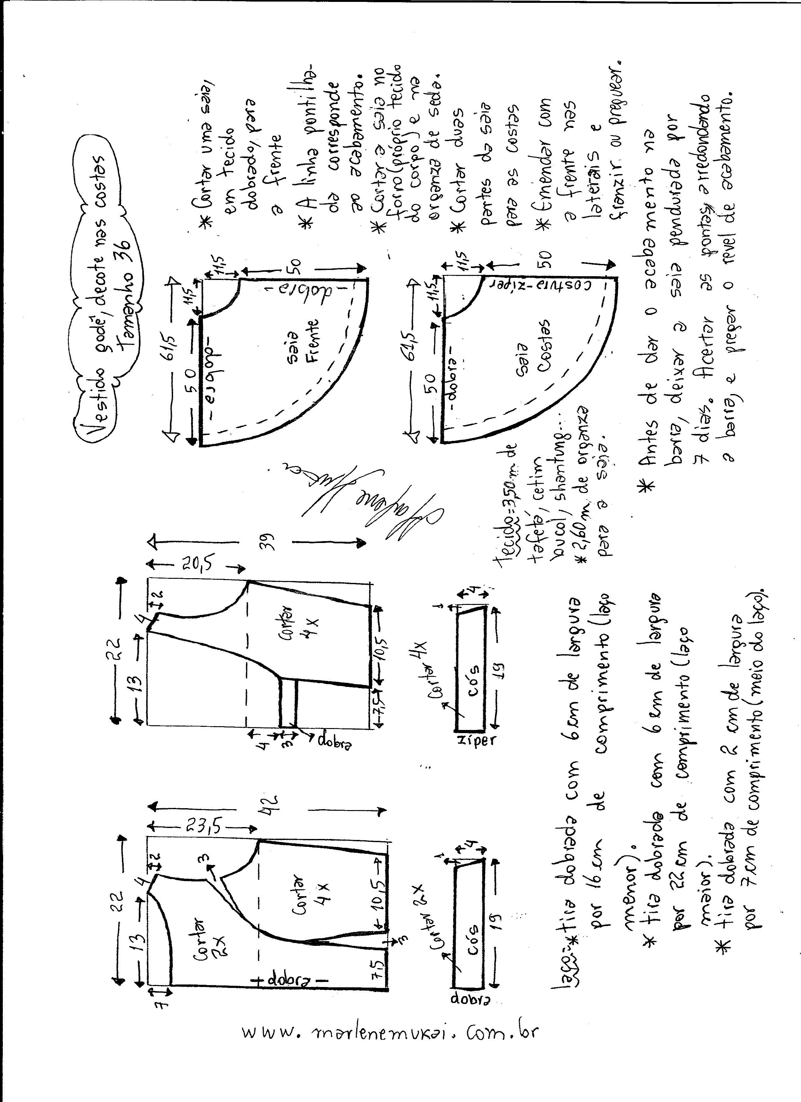 4d968e594 Esquema de modelagem de vestido godê com decote nas costas tamanho 36.