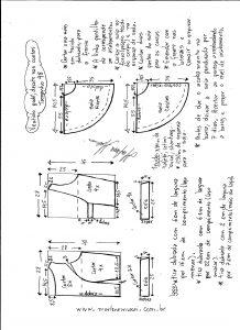 Esquema de modelagem de vestido godê com decote nas costas tamanho 48.