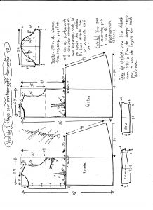 Esquema de modelagem de vestido vintage com botões na frente tamanho 40.